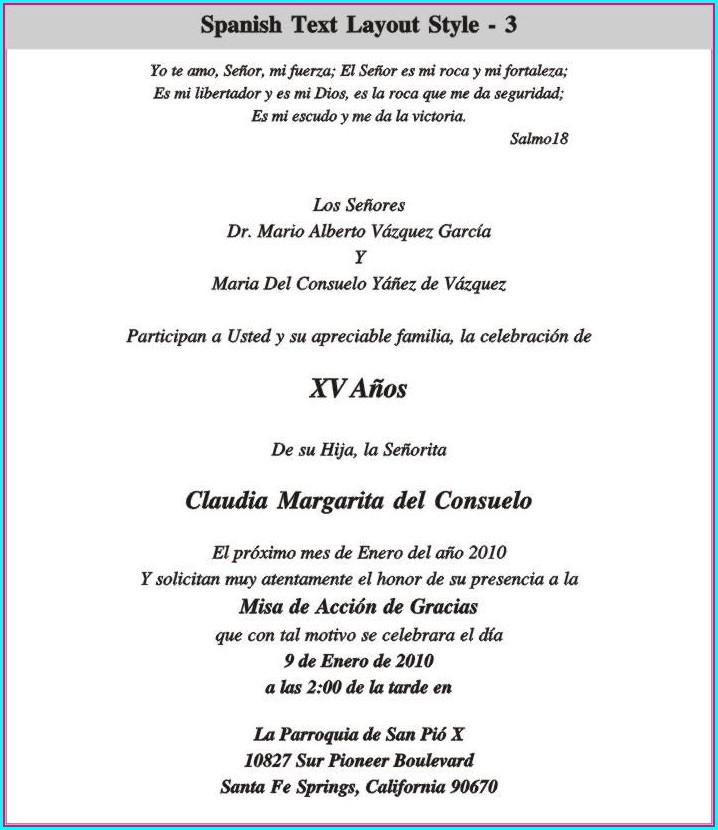 Spanish Language Quinceanera Invitation Wording In Spanish