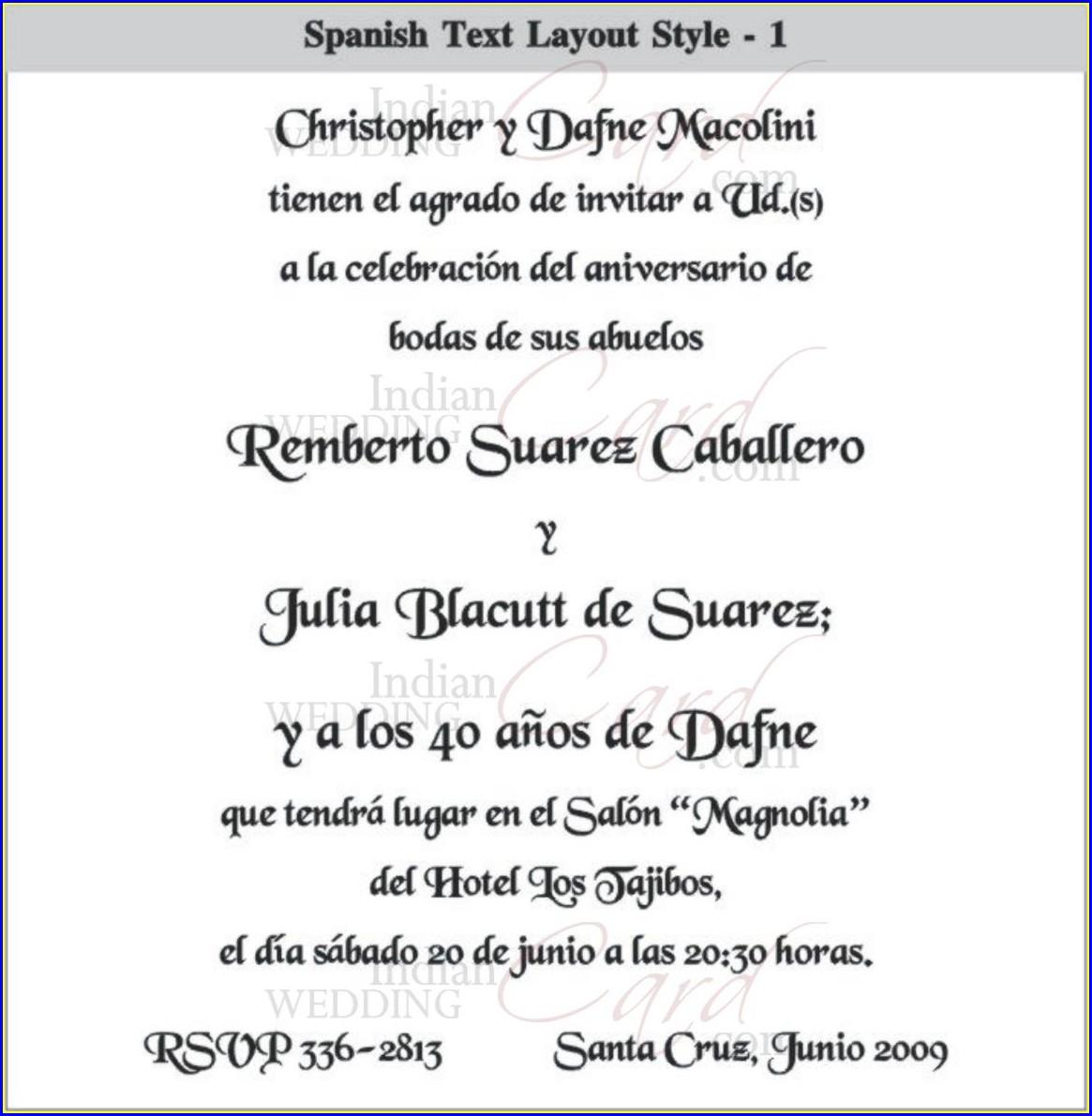 Spanish Language Spanish Wedding Invitation Wording