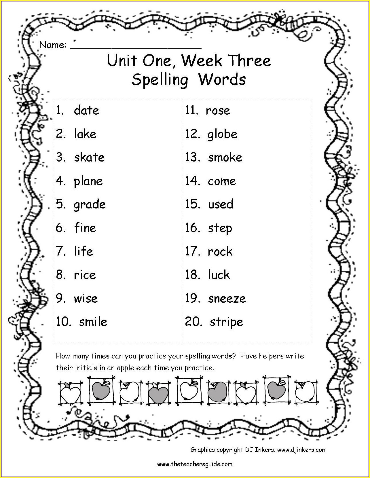 Spelling Worksheets 3rd Grade Spelling List Printable