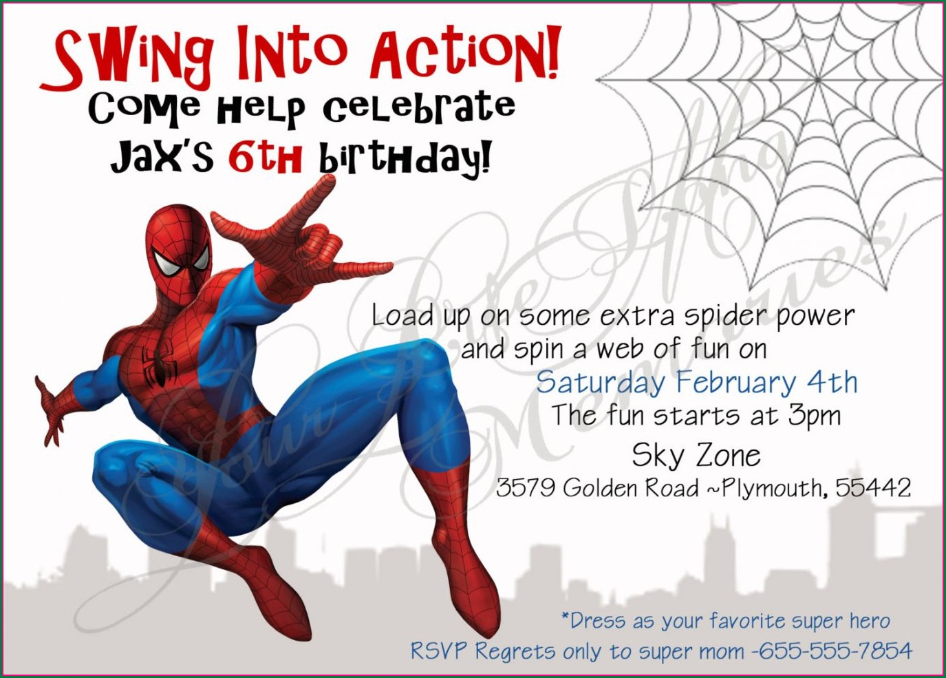 Spiderman Birthday Invitation Card Template