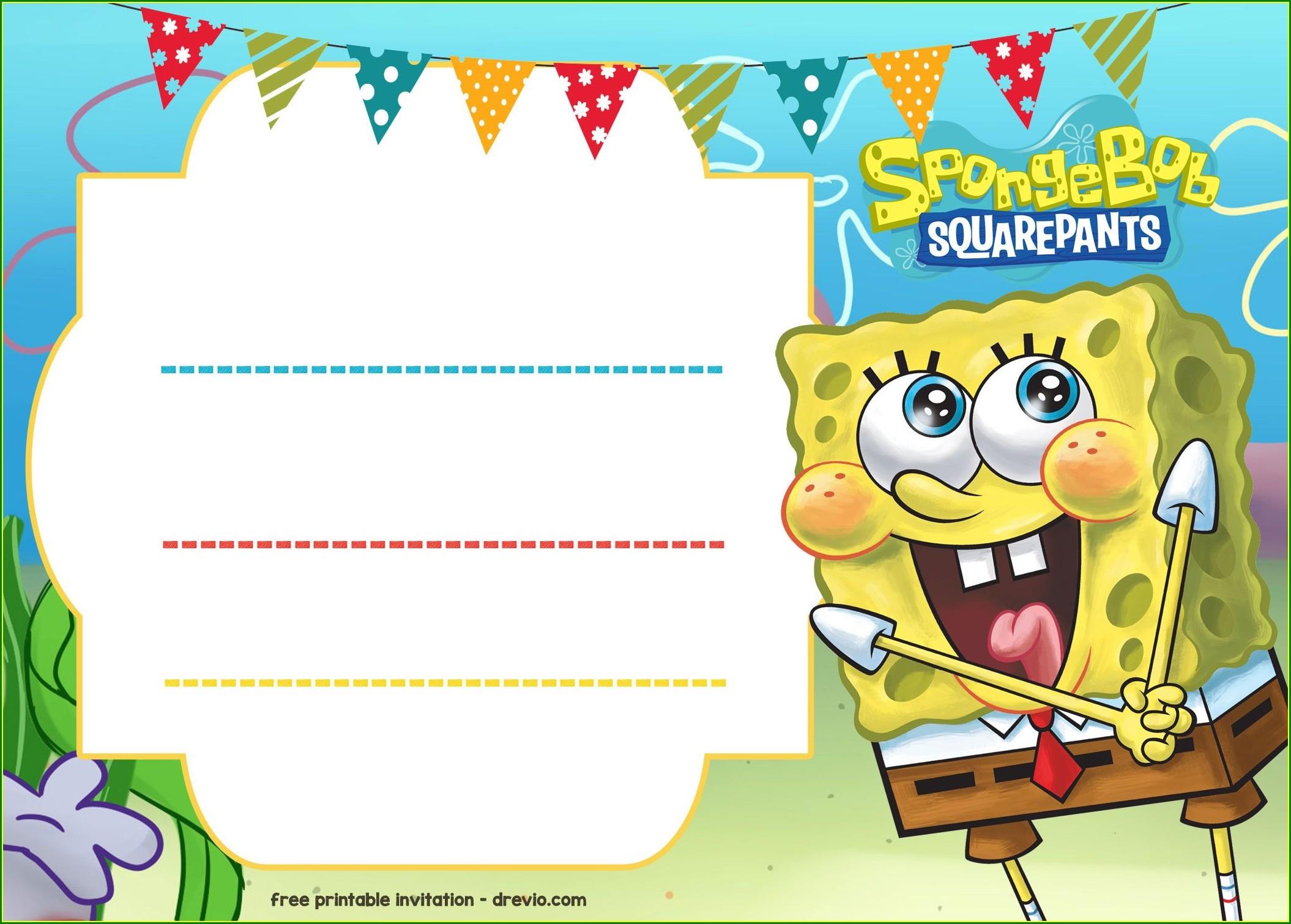 Spongebob Birthday Invitation Template Free