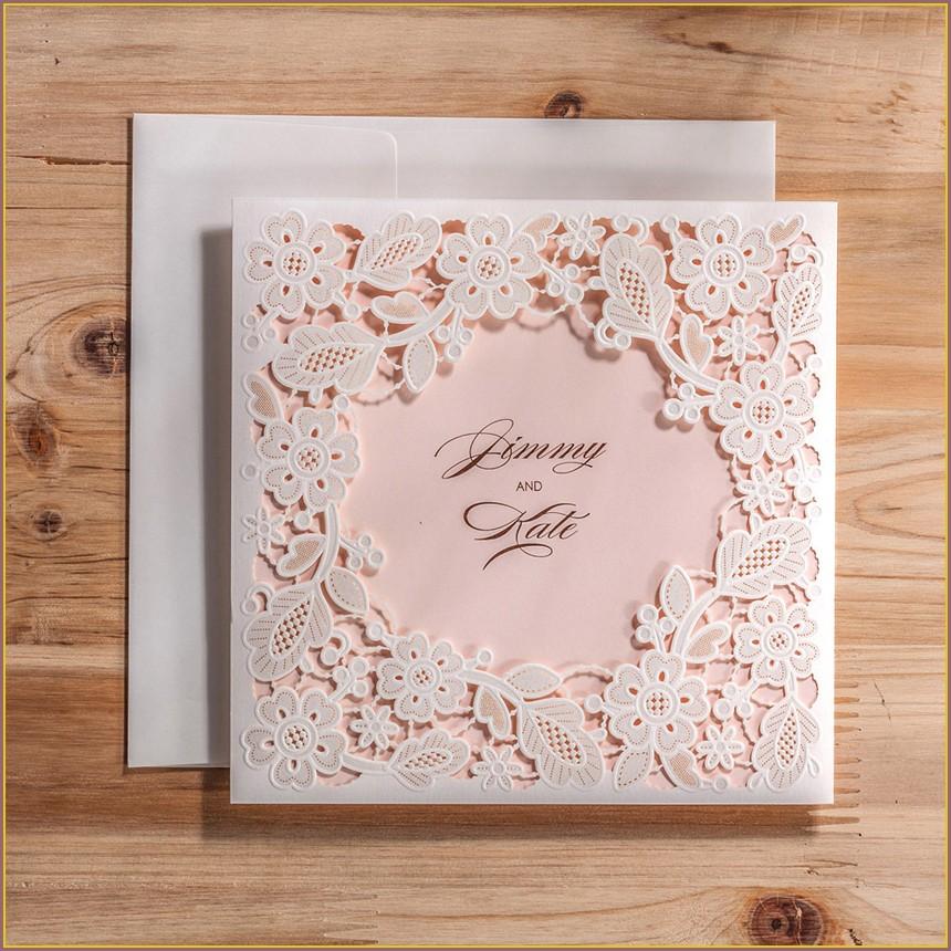 Square Laser Cut Wedding Invitations