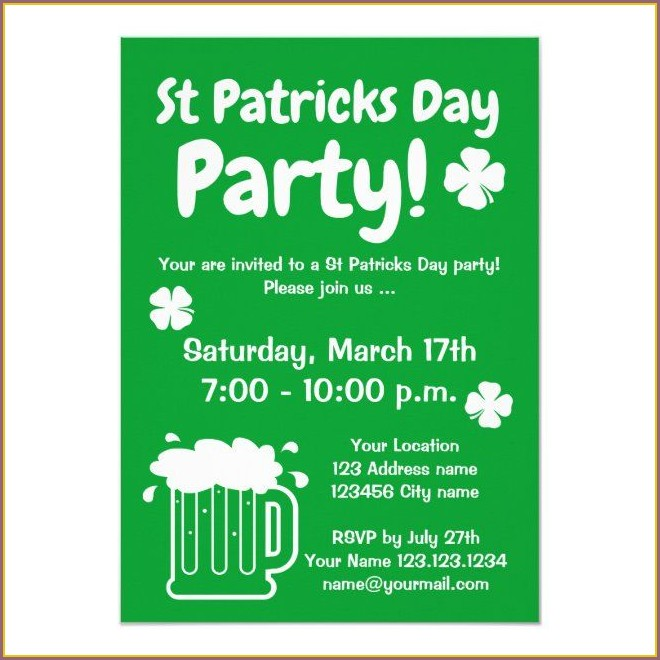 St Patrick's Day Invitation Template
