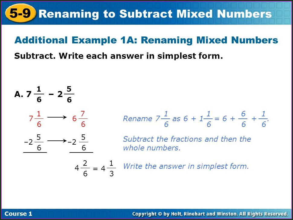 Subtracting Mixed Numbers Renaming Worksheet