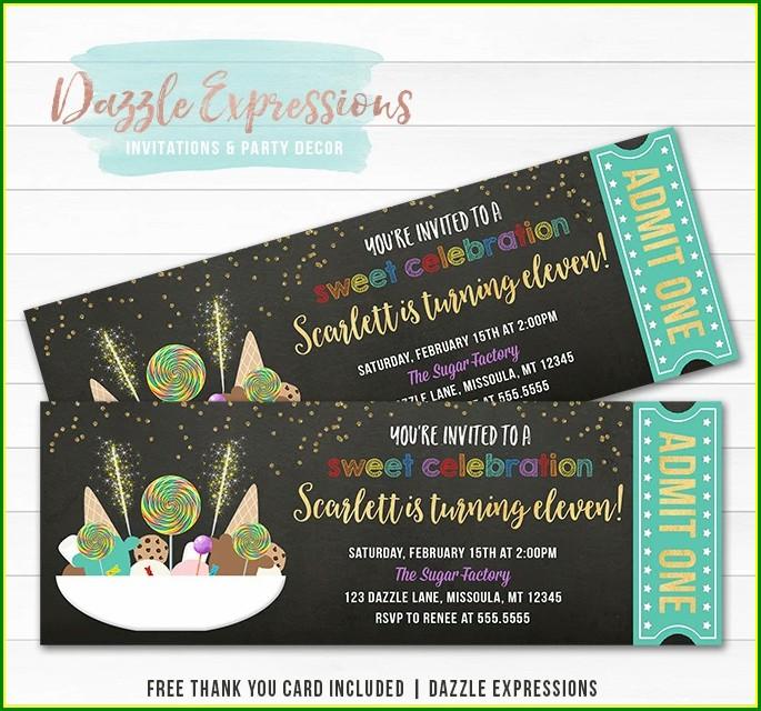 Sugar Factory Birthday Invitations