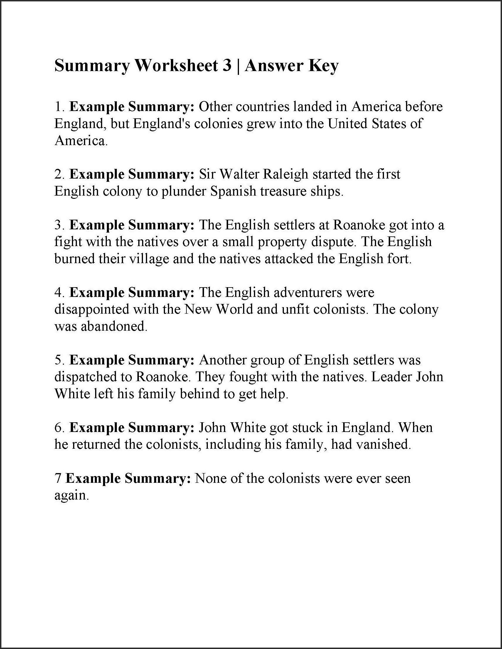 Summary Writing Worksheets Pdf