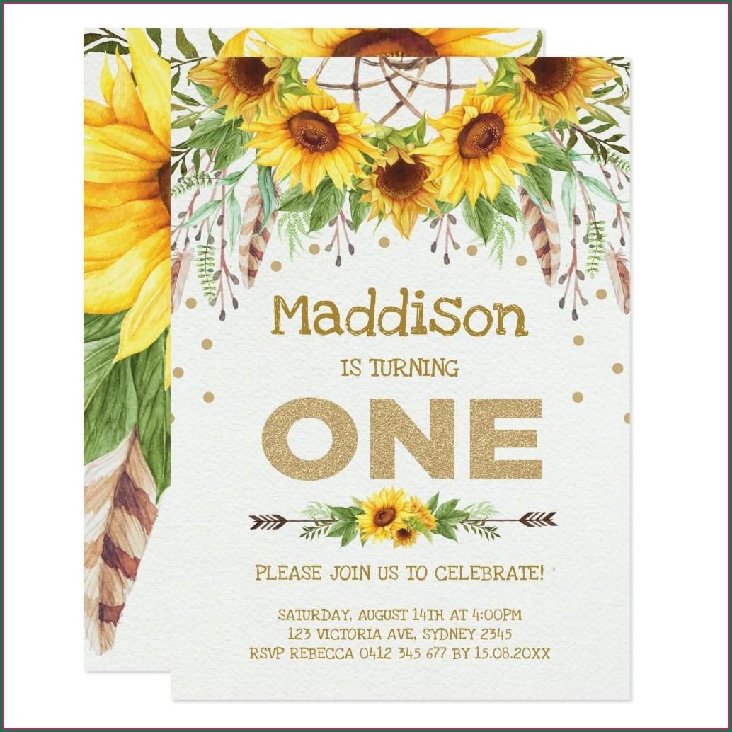 Sunflower First Birthday Invitations