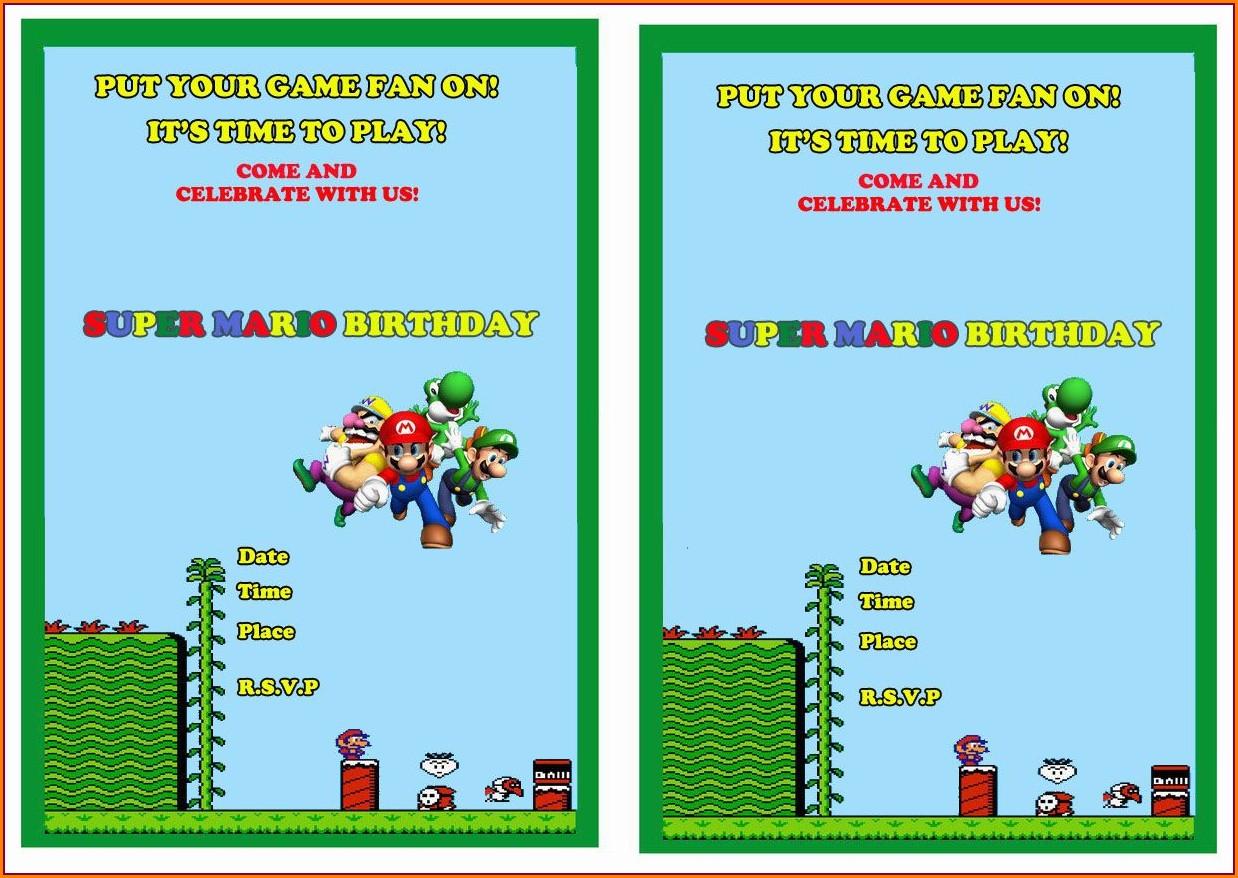 Super Mario Birthday Invitations Printable Free