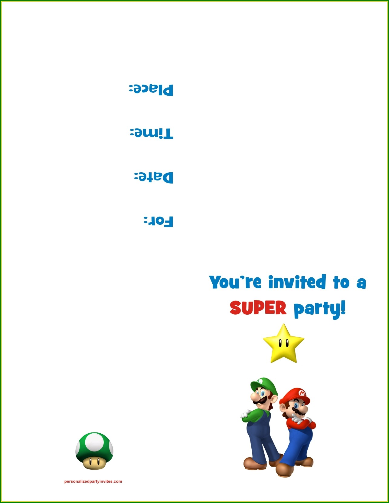 Super Mario Invites Printable Free