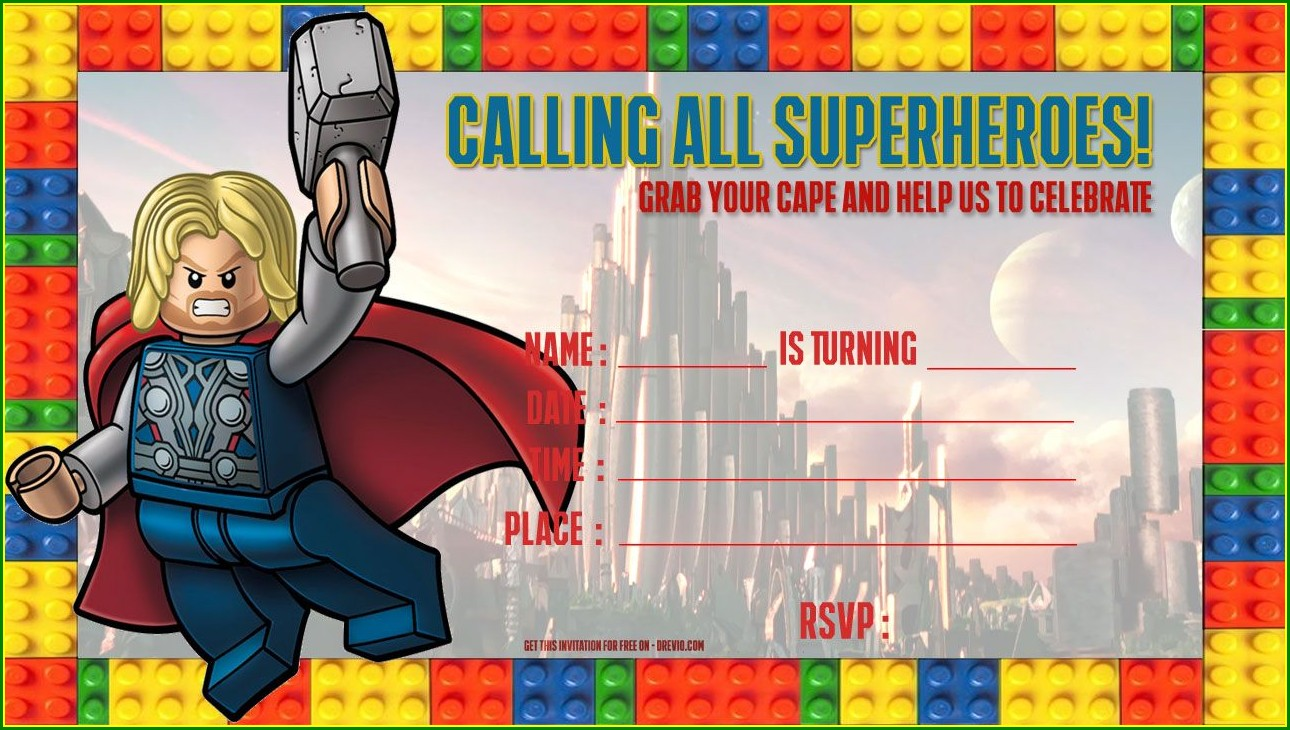 Superhero Birthday Party Invitation Template Free