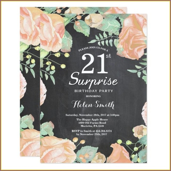 Surprise 21st Birthday Invitations