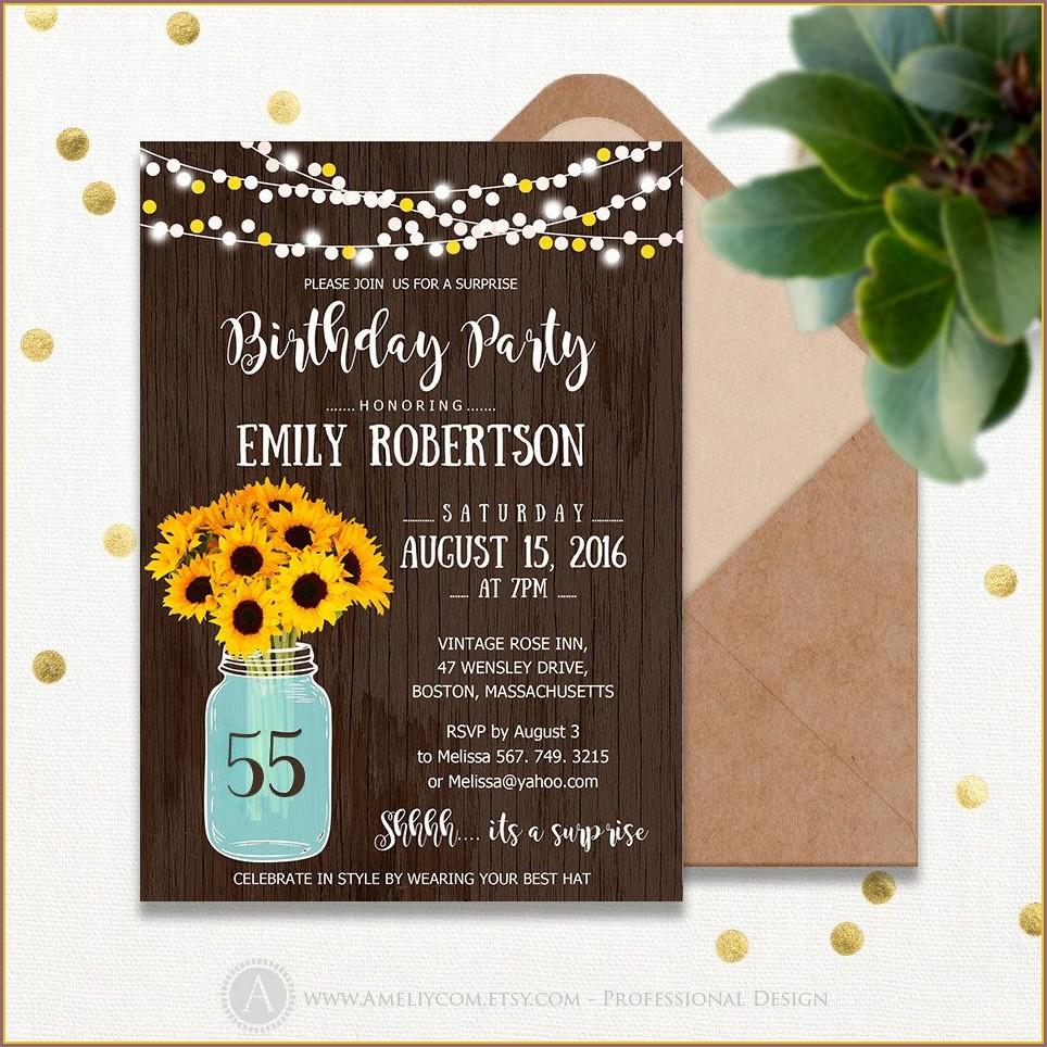 Surprise 55th Birthday Invitations