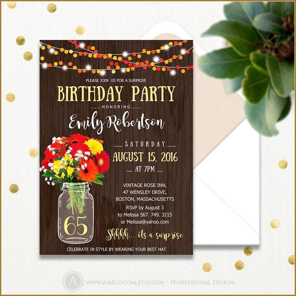 Surprise 65th Birthday Invitations