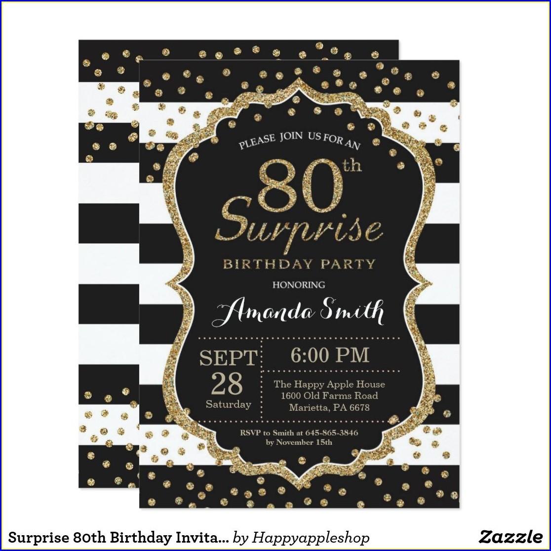 Surprise 80th Birthday Invitations