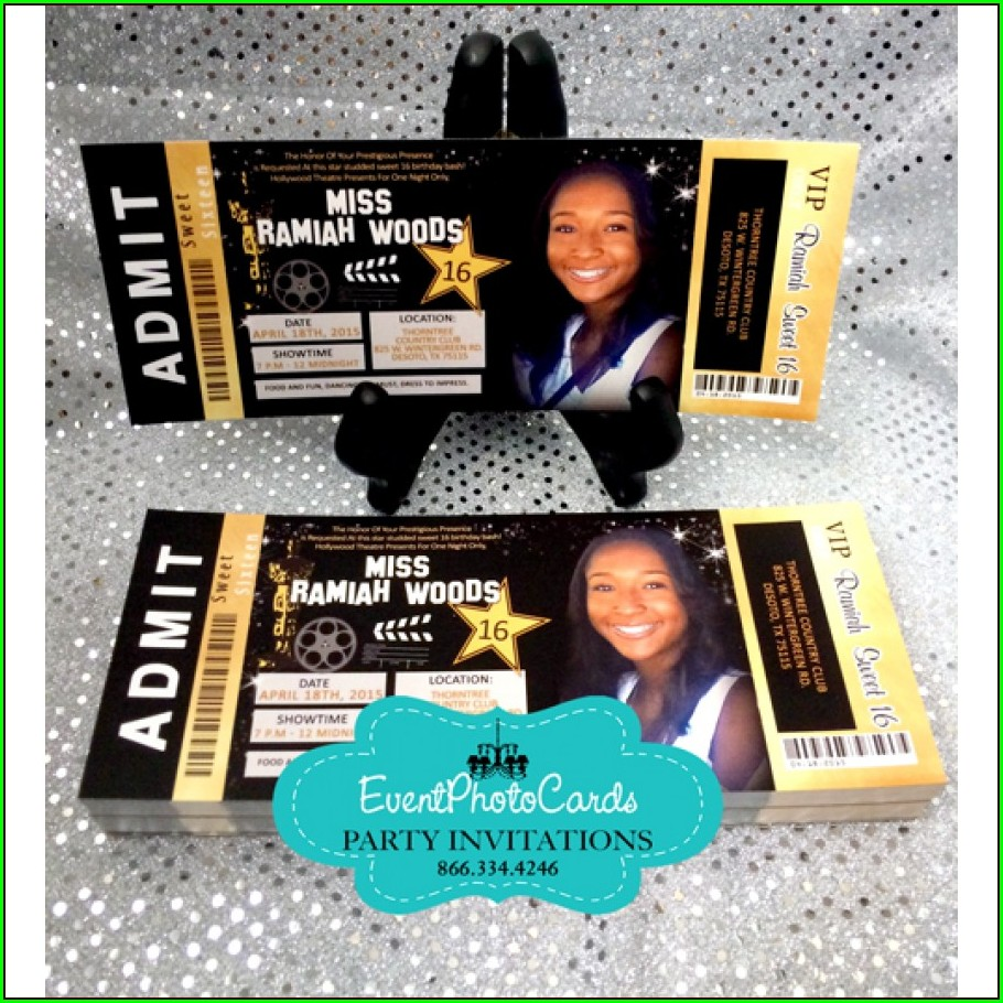 Sweet 16 Hollywood Invitations