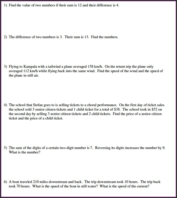 Systems Of Equations Word Problems Using Matrices