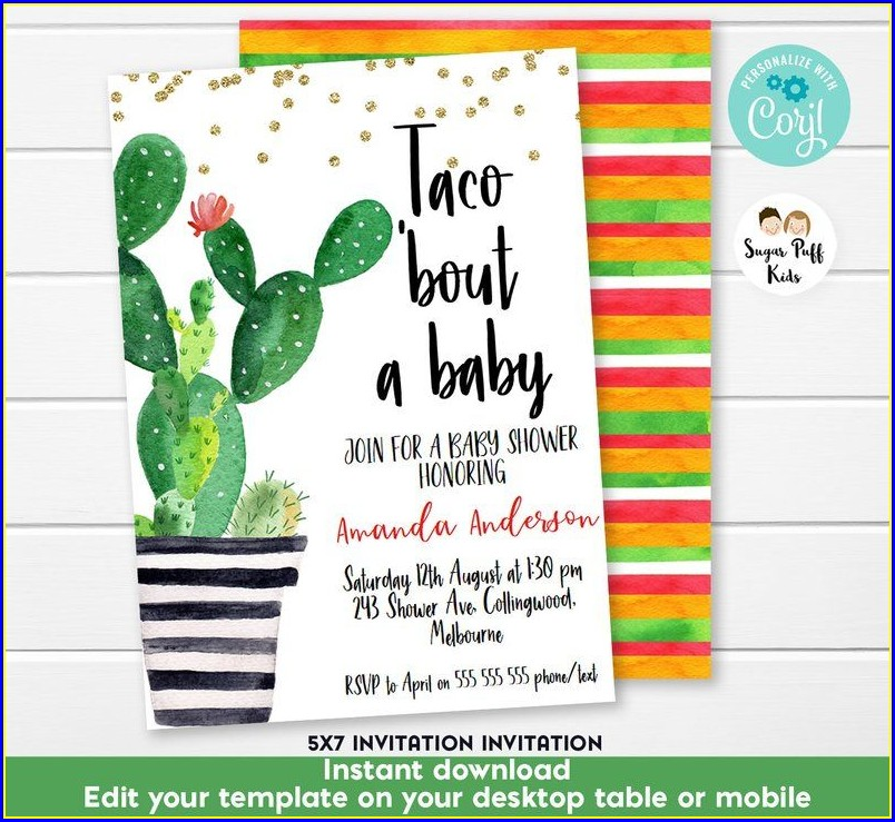 Taco Bout A Baby Shower Invitations