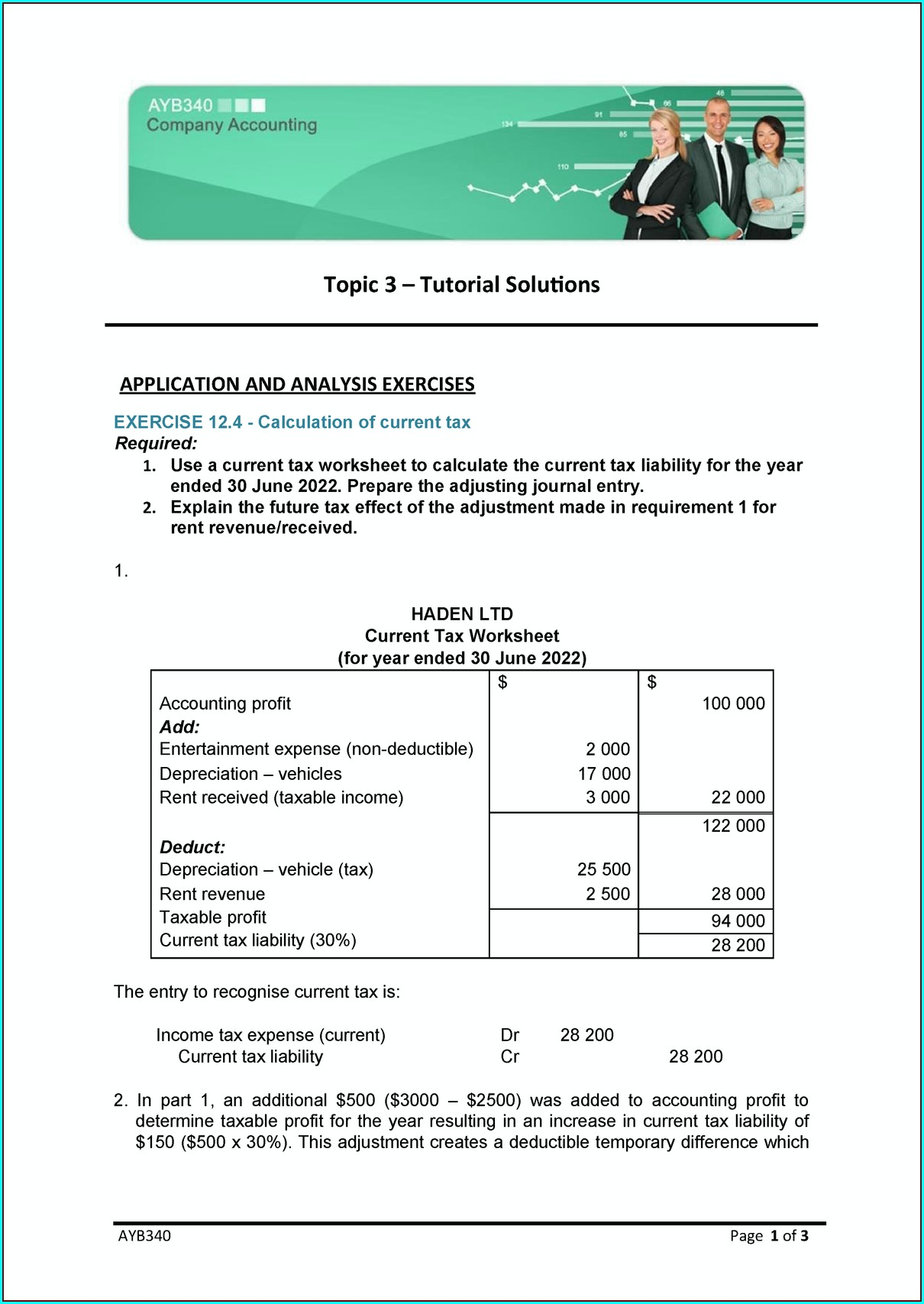 Tax Effect Accounting Worksheet