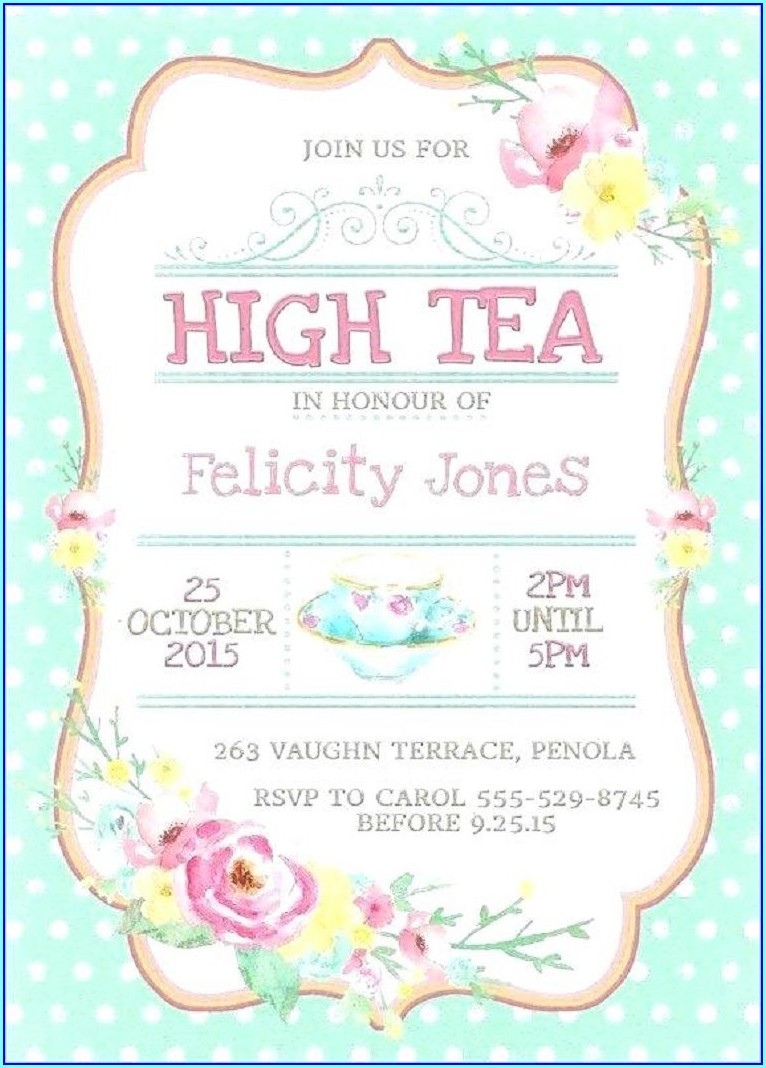 Tea Party Invitation Template Free