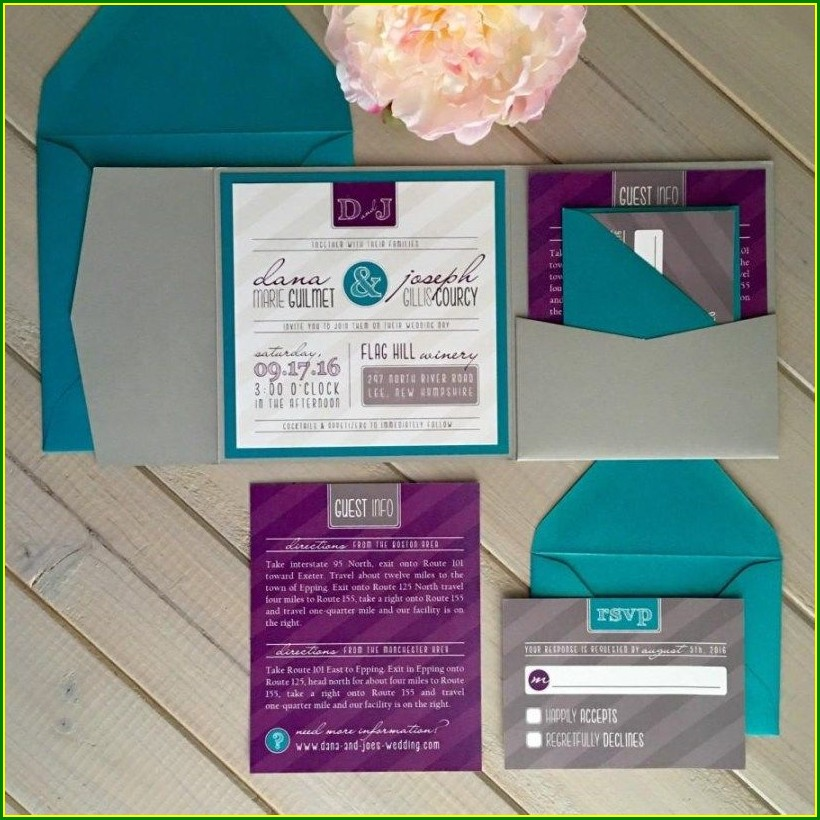 Teal And Purple Wedding Invitations