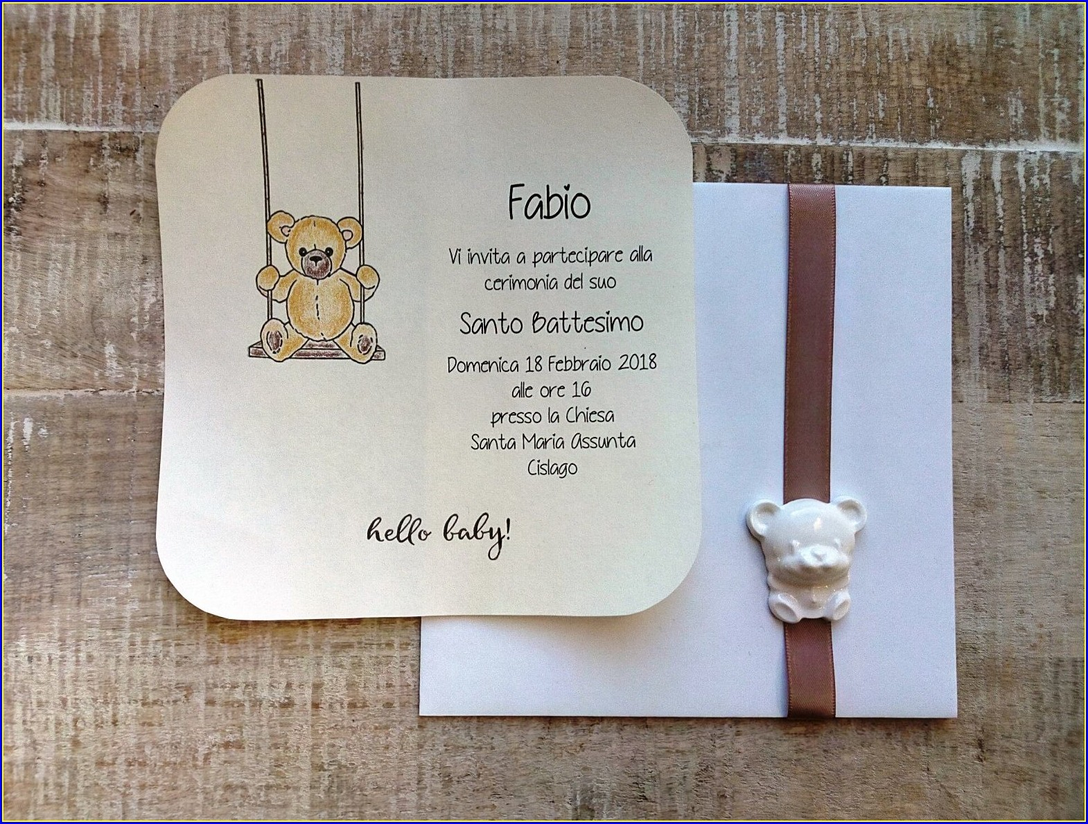 Teddy Bear Baptism Invitations