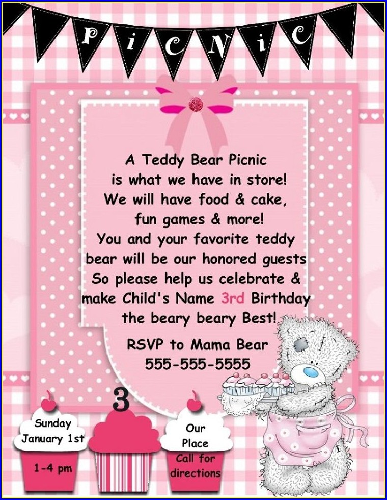 Teddy Bear Picnic Party Invitations