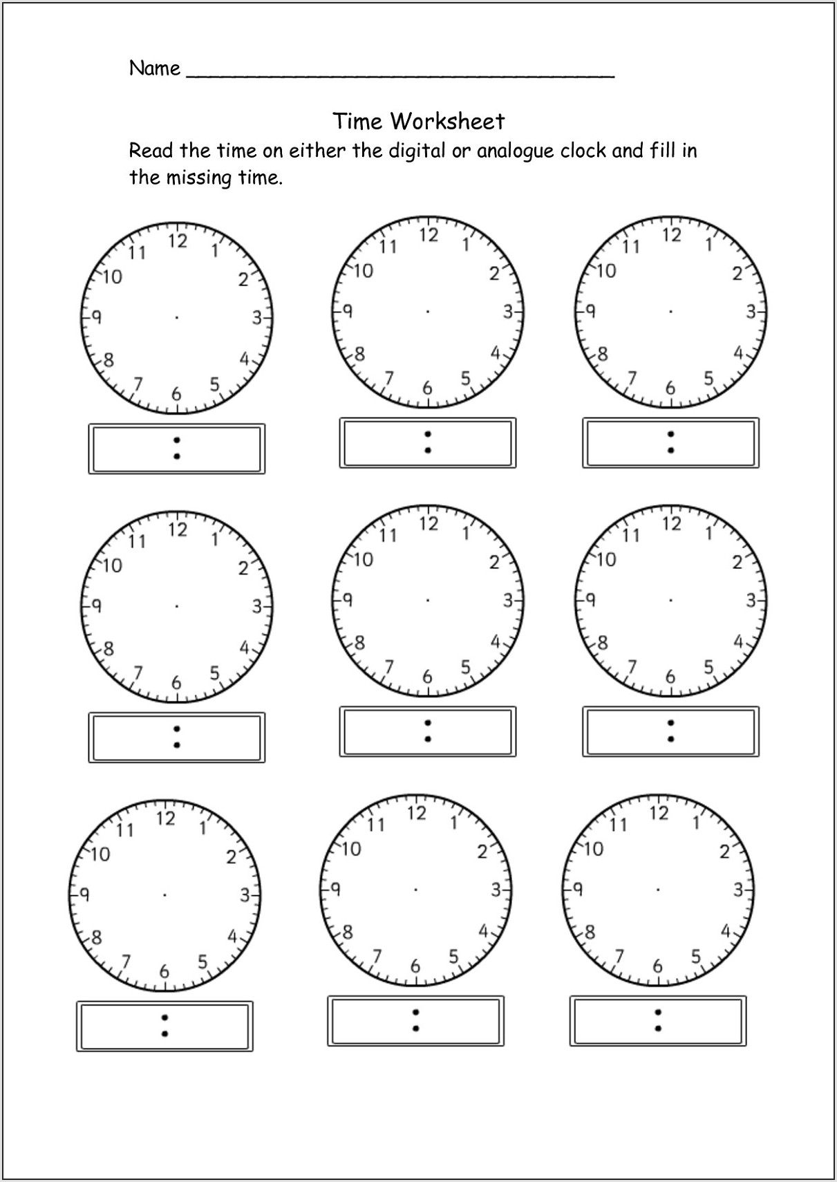 Telling The Time To The Nearest Minute Worksheet
