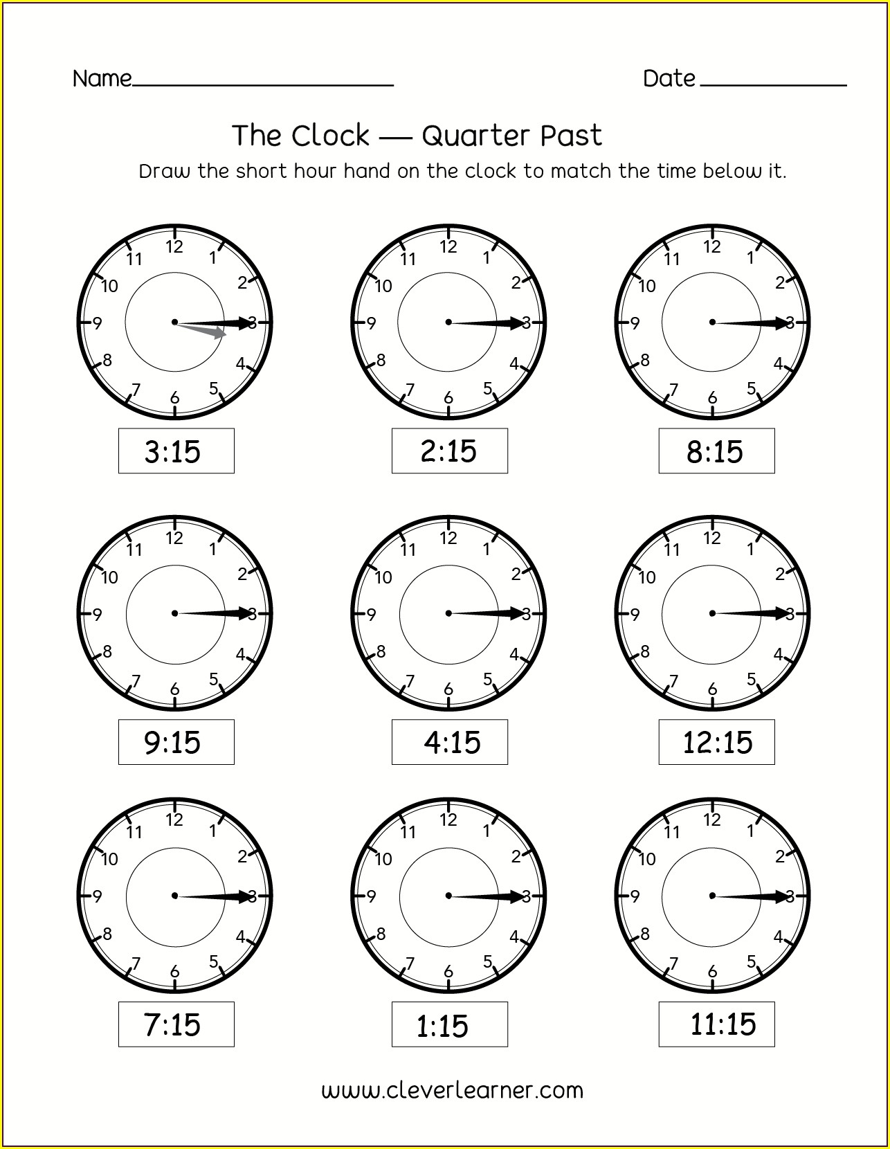 Telling The Time Worksheets Quarter Past