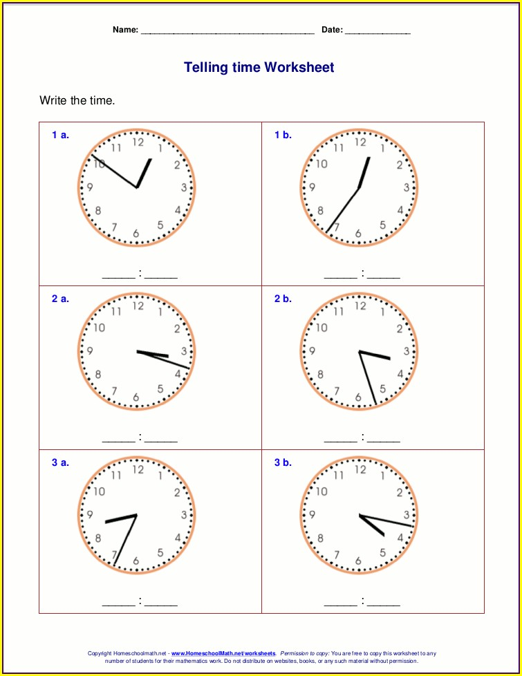 Telling The Time Worksheets Y3