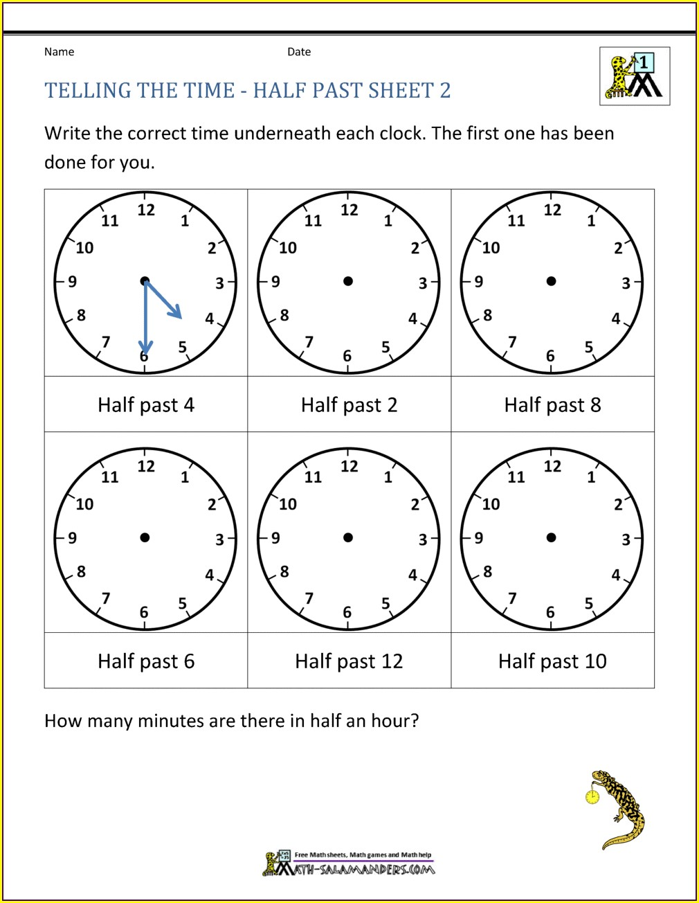 Telling The Time Worksheets Y4