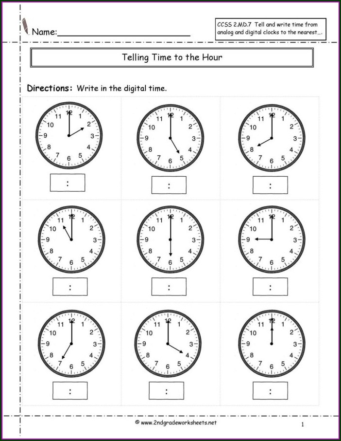 Telling Time Drill Worksheets