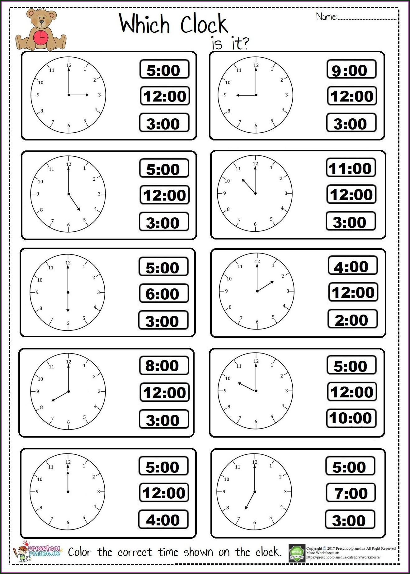 Telling Time In English Worksheet Pdf