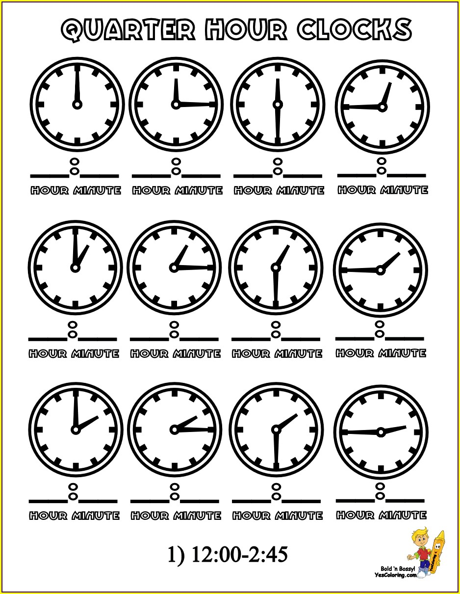 Telling Time To The 15 Minute Worksheets