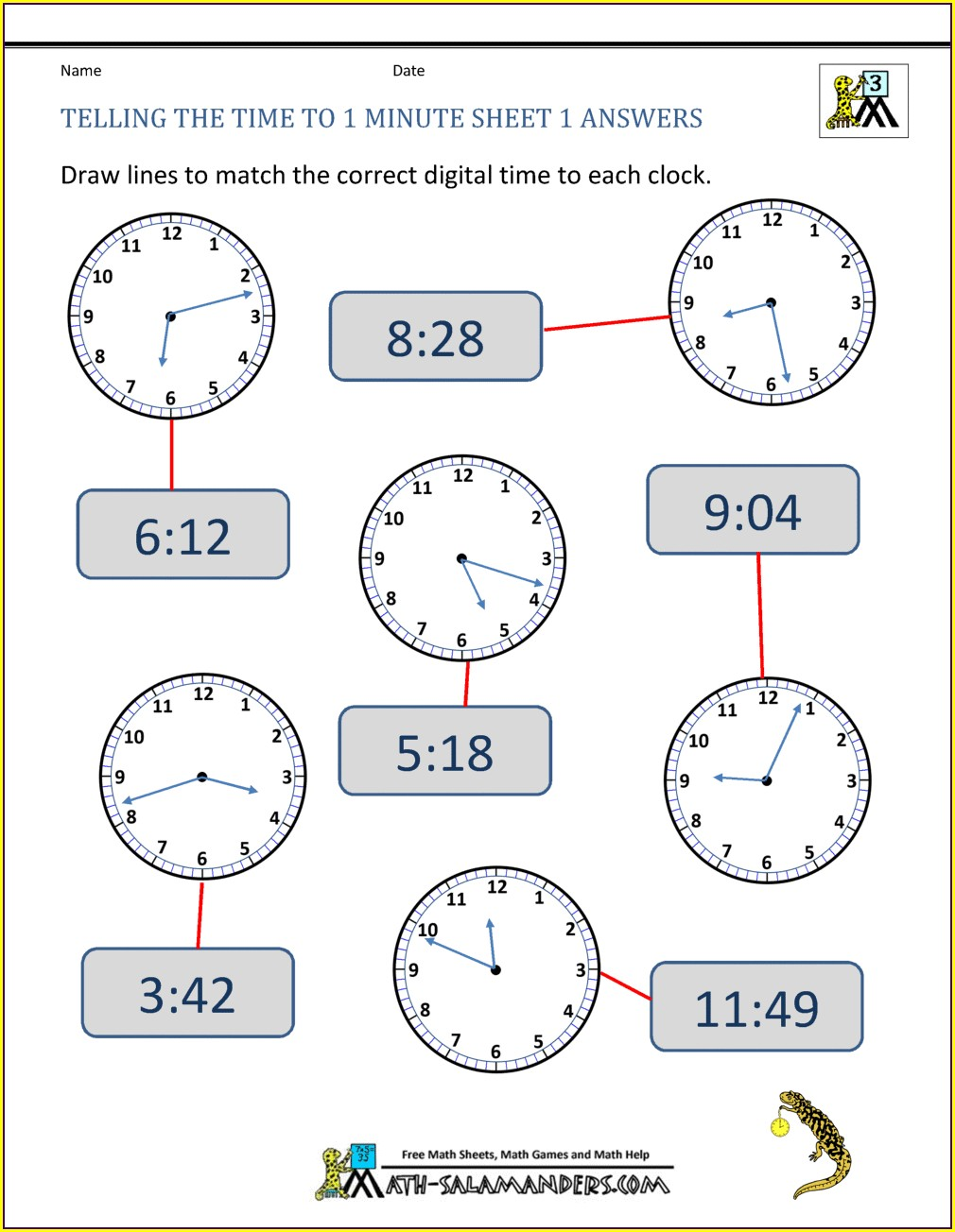 Telling Time To The Minute Worksheet Free