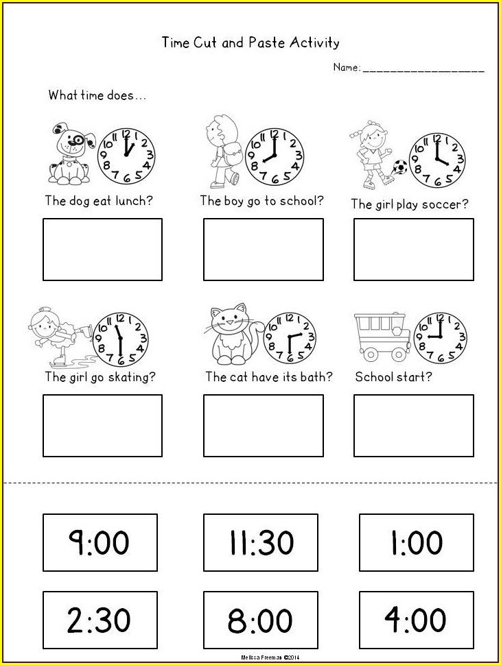 Telling Time Word Search Worksheets