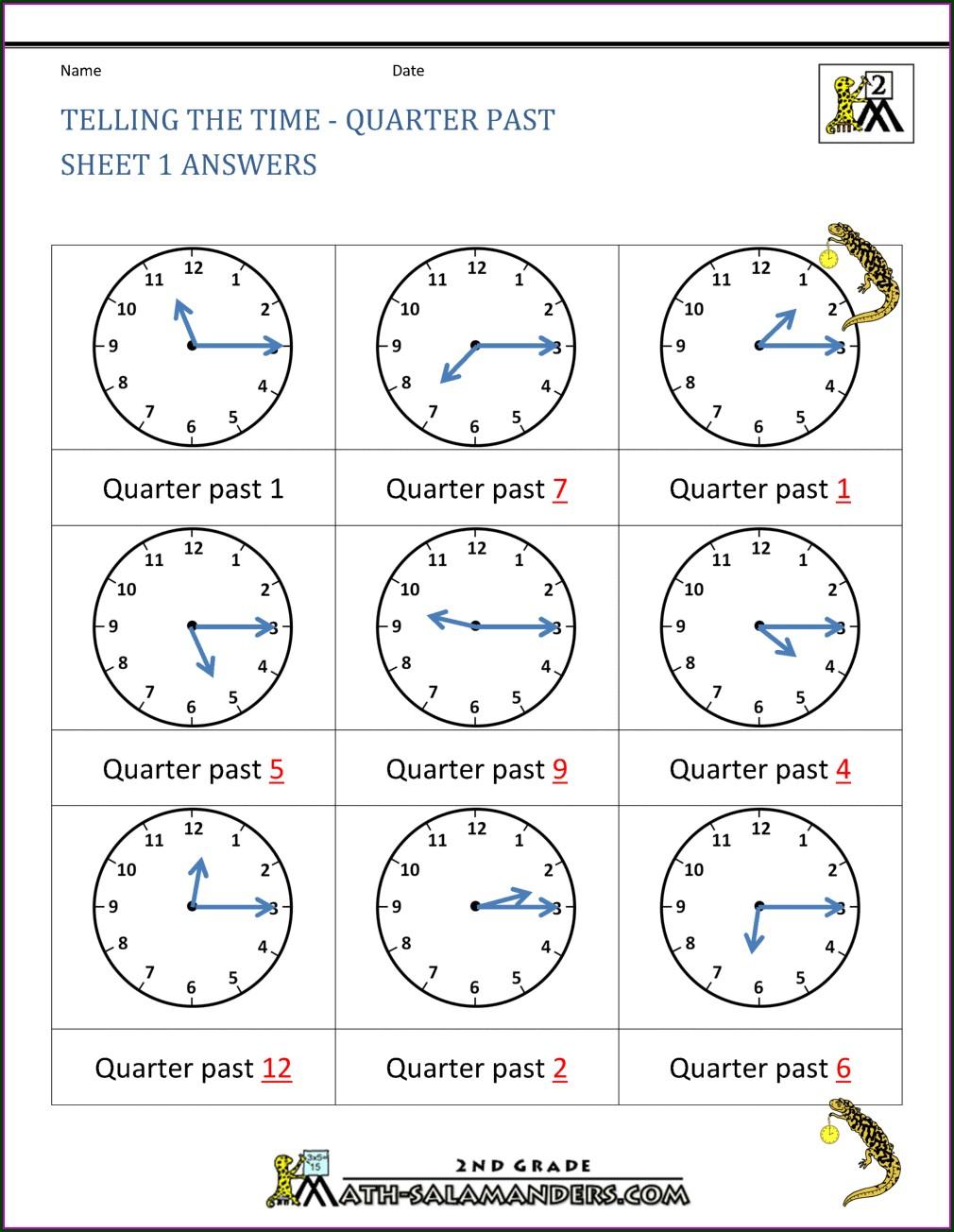 Telling Time Worksheet For Grade 2 Pdf