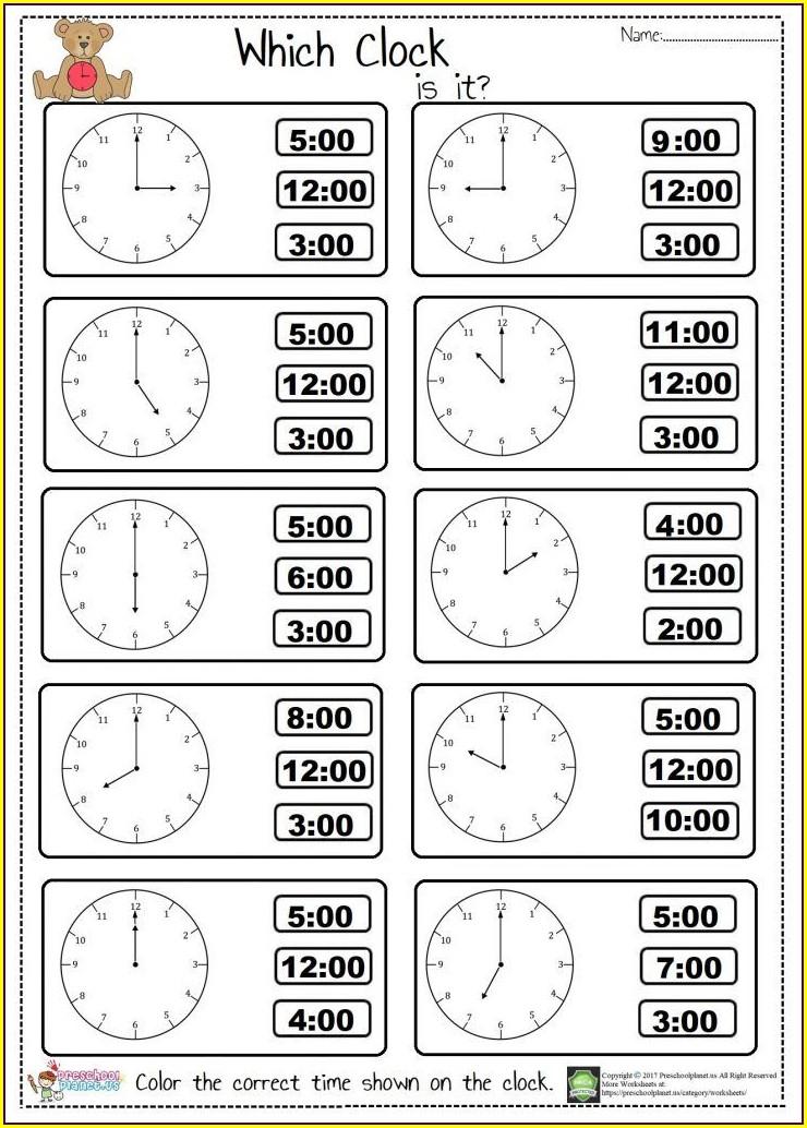 Telling Time Worksheet For Kindergarten