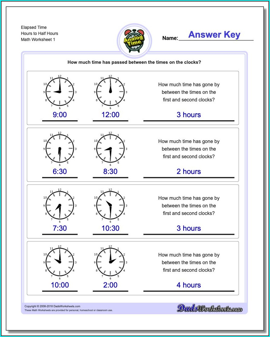 Telling Time Worksheets With Word Problems