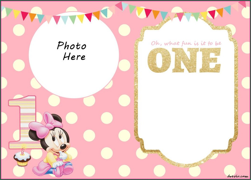 Template Free Baby Girl First Birthday 1st Birthday Invitation Card