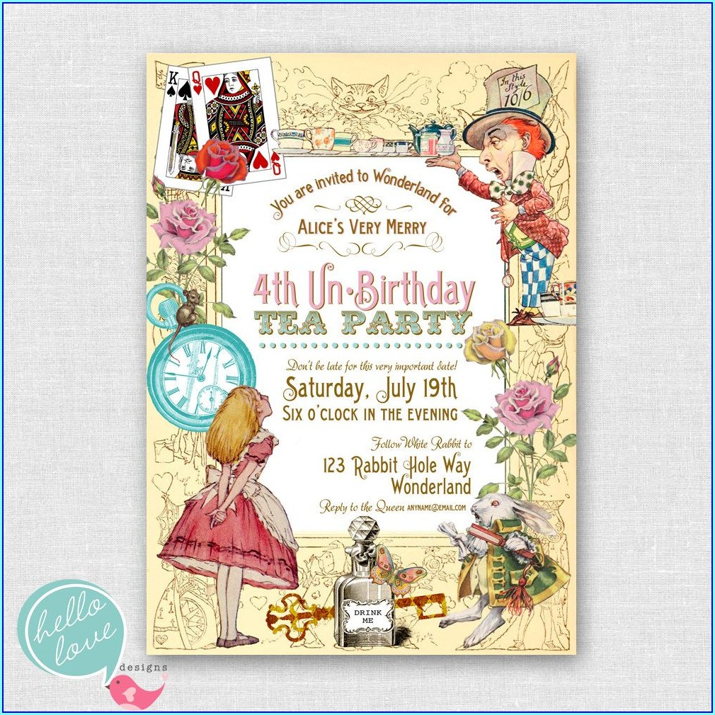 Template Free Downloadable Alice In Wonderland Invitations
