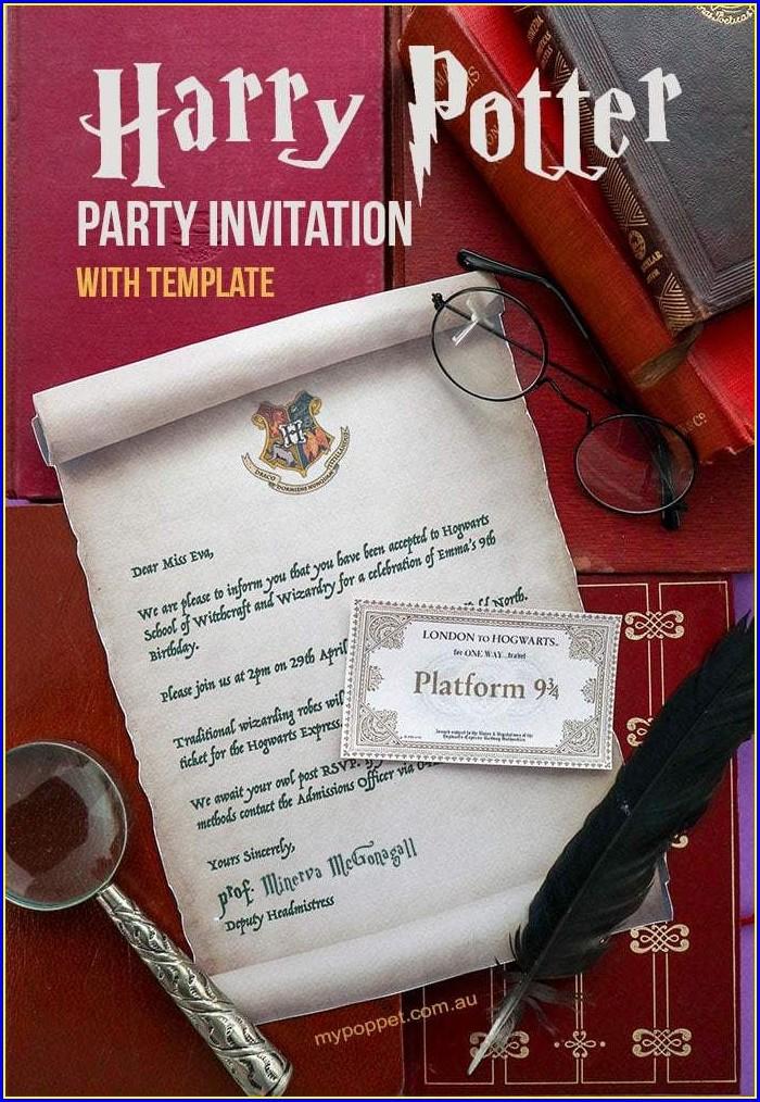Template Free Printable Harry Potter Invitations