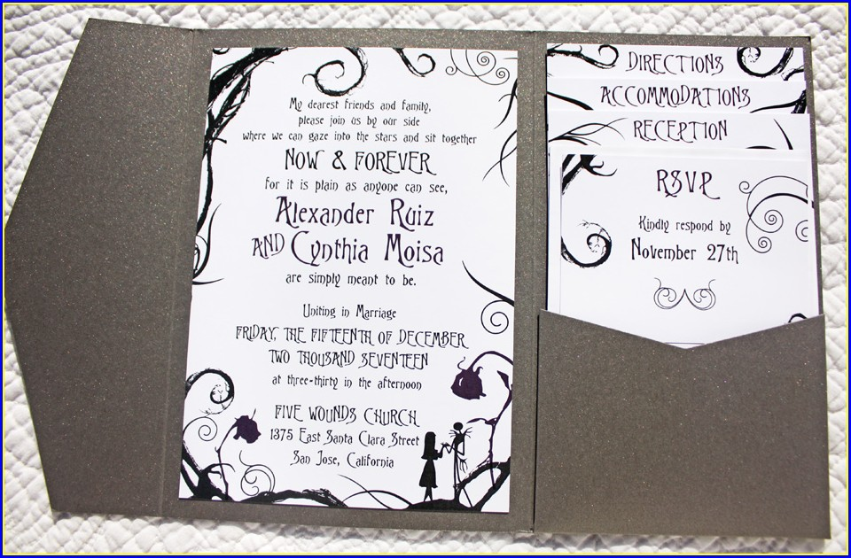 Template Nightmare Before Christmas Wedding Invitations