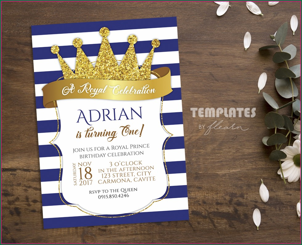 Template Royal Prince Birthday Invitation