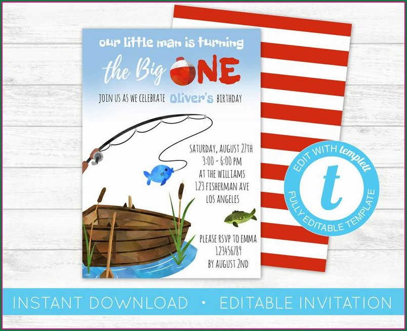 The Big One Fishing Birthday Invitations
