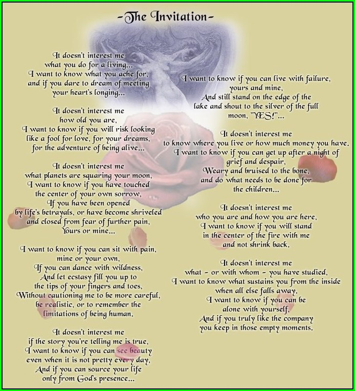 The Invitation By Oriah Poem