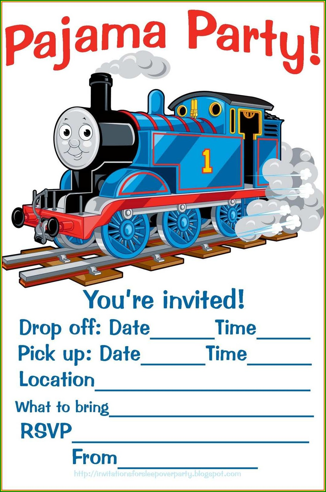 Thomas The Train Invitation Template Free
