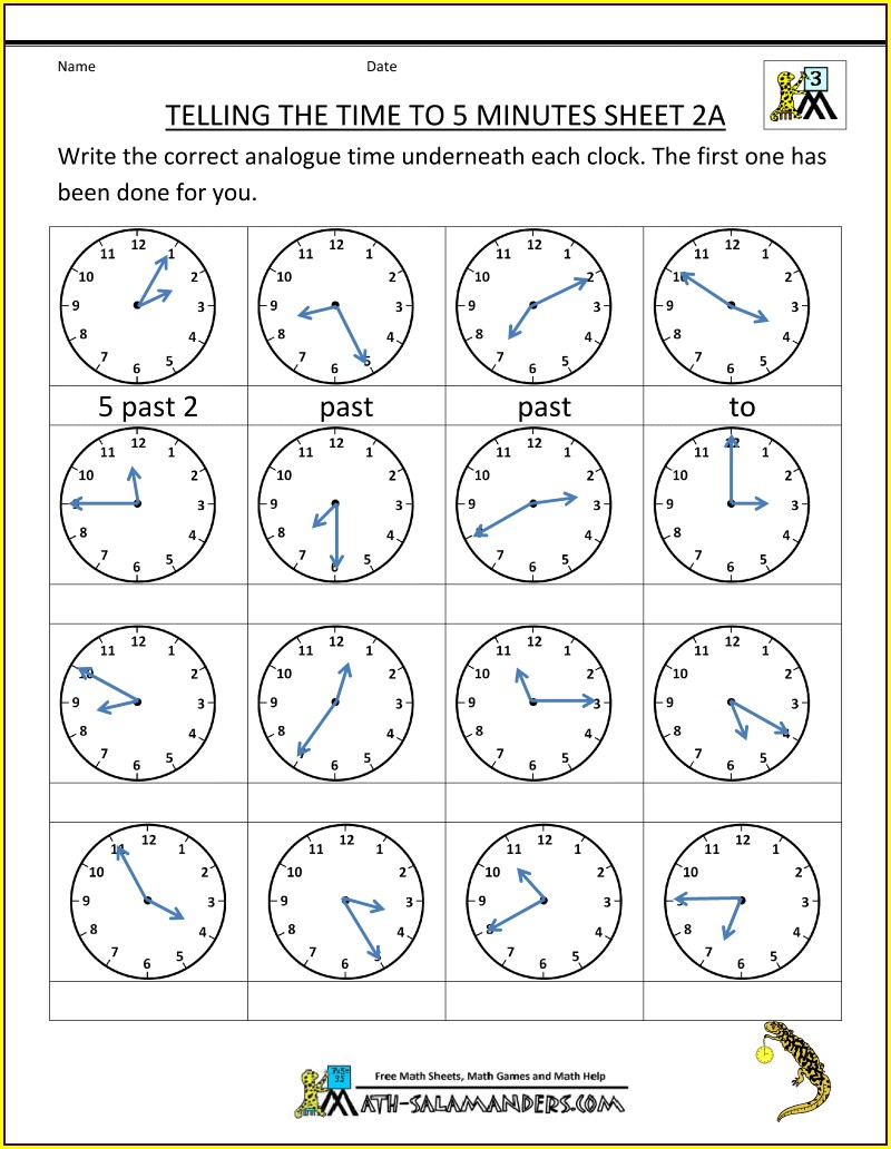 Time To 5 Minutes Worksheet