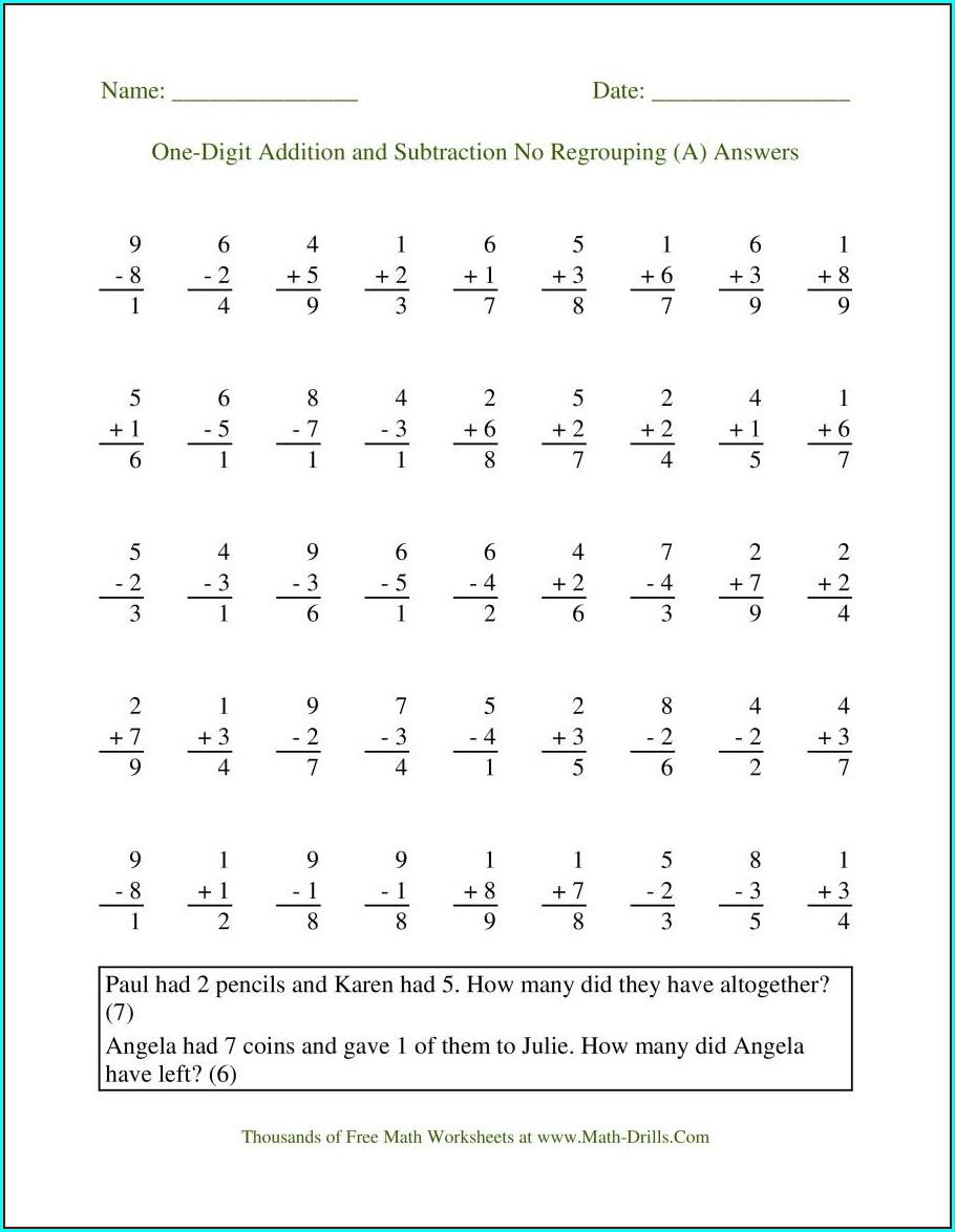 Timed Math Drills Worksheet Free