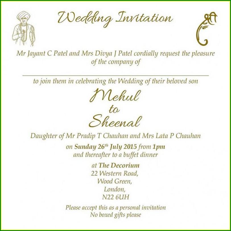 Traditional Hindu Wedding Invitation Wording