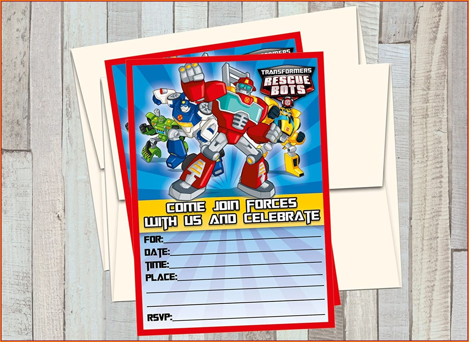 Transformers Rescue Bots Birthday Invitations